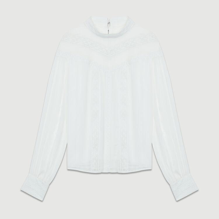 Camicetta in voile con ricamo : Tops colore Bianco