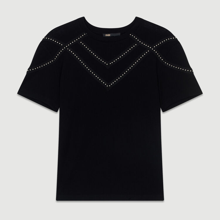 Tee-shirt loose con borchie : T-Shirts colore Nero