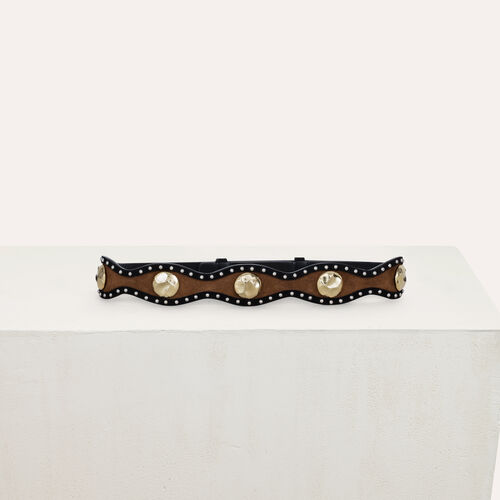 High-waisted suede belt : Cinture colore Nero