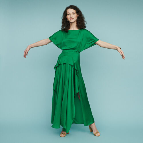 Vestito lungo asimmetrico : Vestiti colore Verde