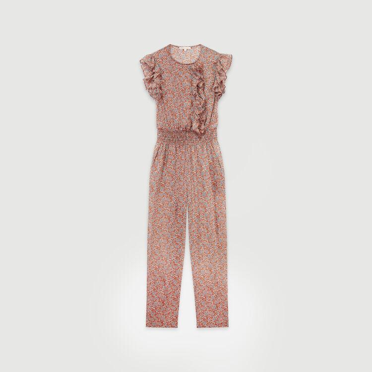 Tuta pantalone corta floreale in cotone : Pantaloni e Jeans colore Terracotta