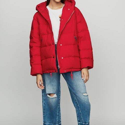 Piumino con zip e cappuccio : Cappotti colore Rosso