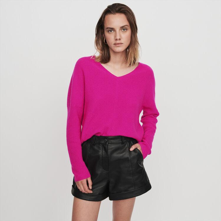 Pull in cashemire con collo a V : Pullover e cardigan colore Violetto