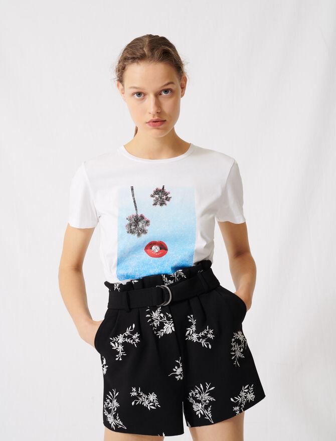 T-shirt bianca serigrafata - T-Shirts - MAJE