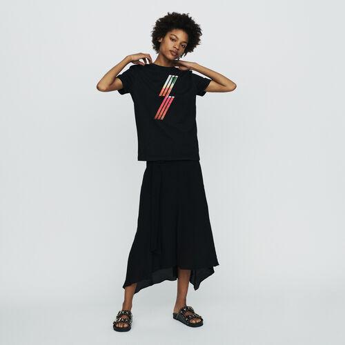 Tee-shirt con ricamo serigrafia : T-Shirts colore Nero