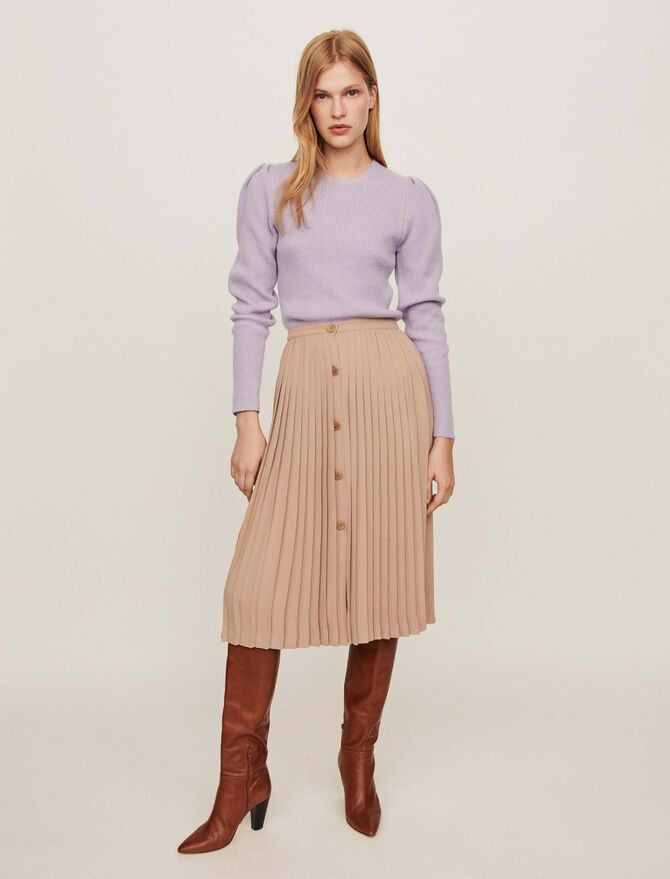 Pleated skirt with buttons -  - MAJE