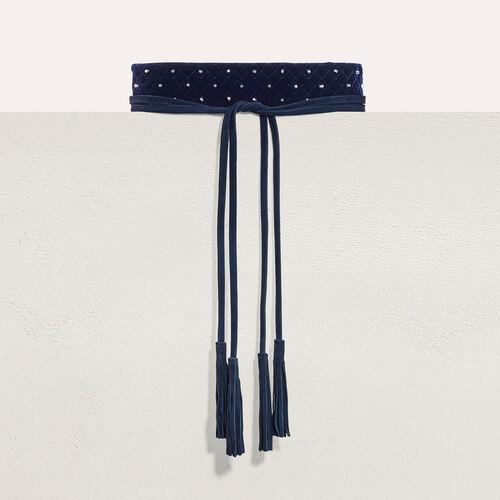 Cintura alta da annodare con borchie : Accessori colore Blu Marino