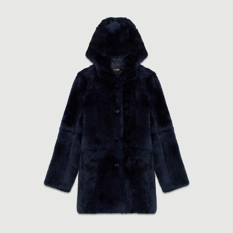 Cappotto corto in pelliccia : Cappotti colore Blu Notte