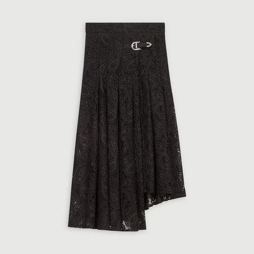 Gonna in pizzo con motivo cashemire : Gonne e shorts colore Nero
