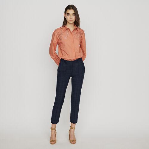 Pantaloni 7/8 a quadri : Pantaloni colore Blu Marino