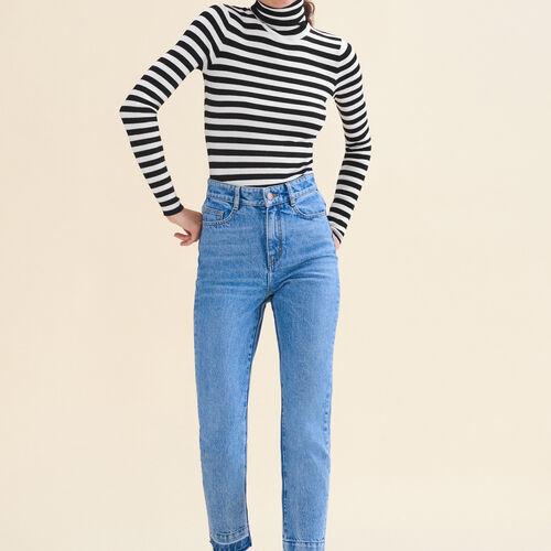 Jeans dritto délavé : Jeans colore Blu
