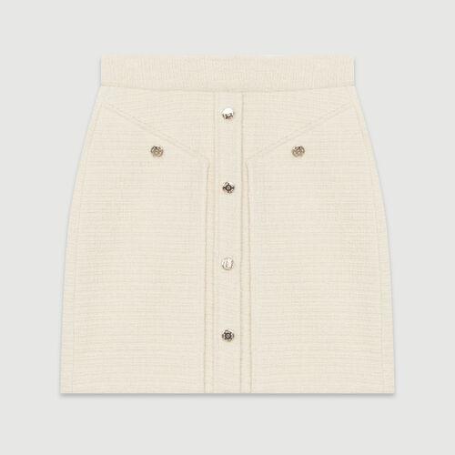 Gonna corta effetto tweed : Gonne e shorts colore Ecru