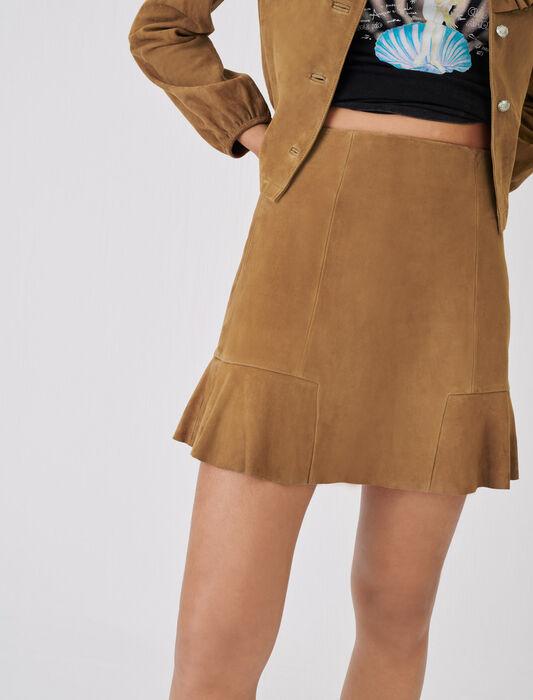 Gonna in camoscio con volant : Gonne e shorts colore Cammello
