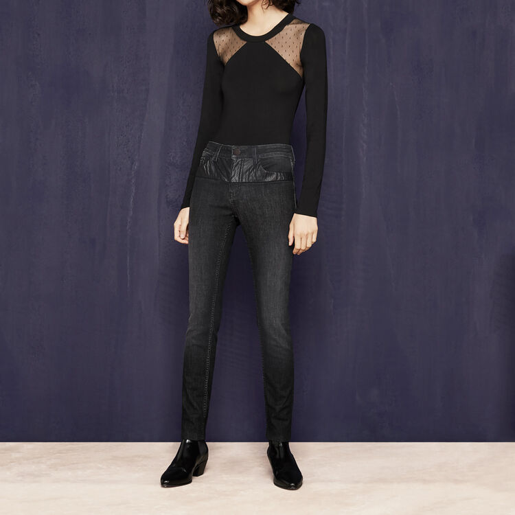 Jeans slim con dettagli in similpelle - Vedi tutto - MAJE