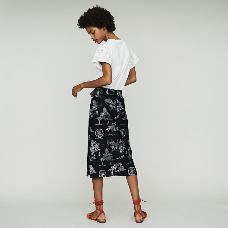 Gonna midi in crêpe ricamata : Gonne e shorts colore Nero