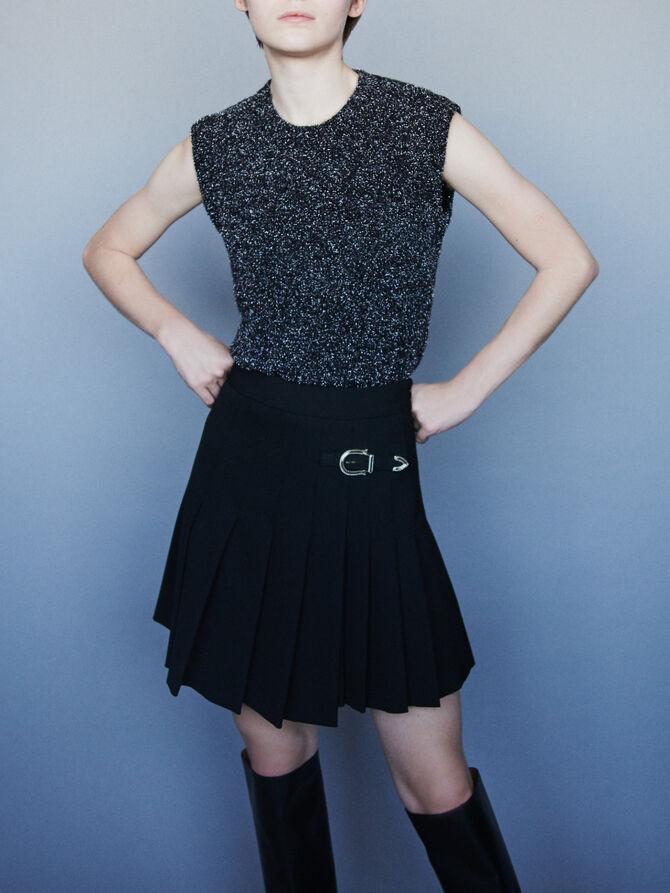 Pleated kilt-style skirt with buckle - null - MAJE