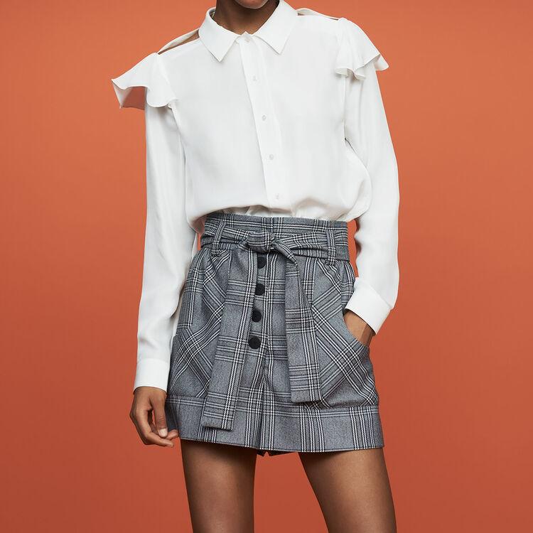Camicetta in seta con volant : Camicie colore Bianco