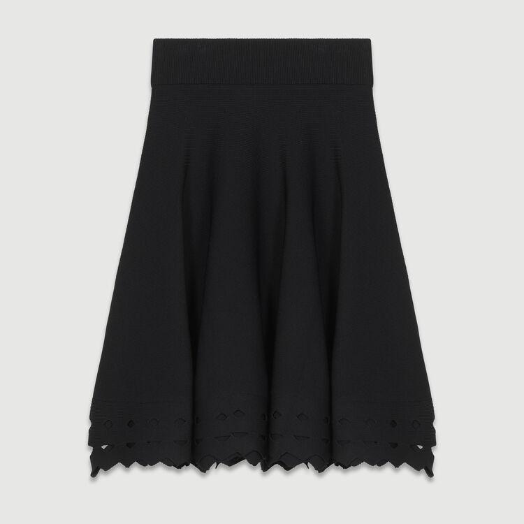 Gonna in tessuto traforato : Gonne e shorts colore Nero