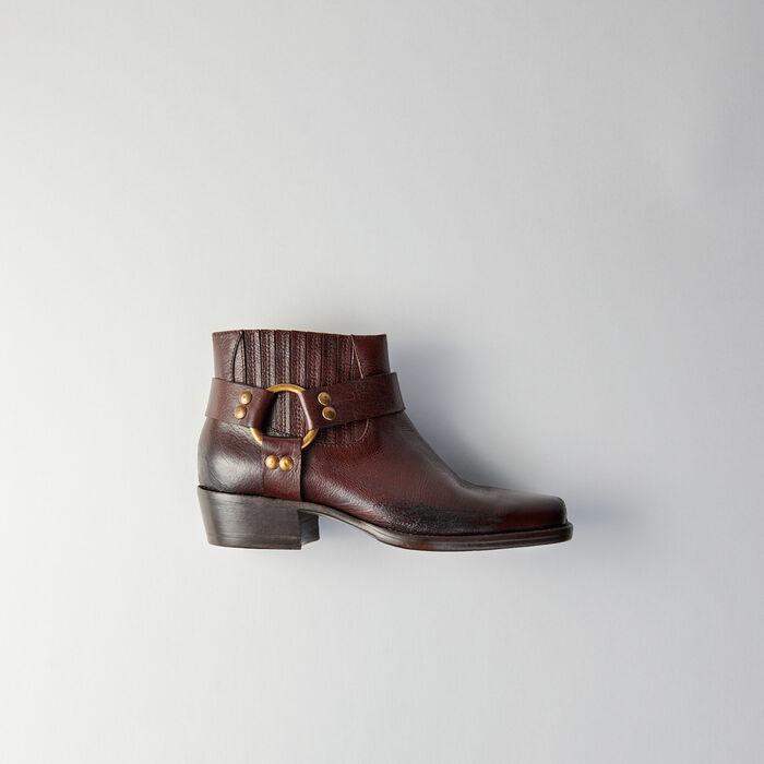 Stivaletti in pelle con punta quadrata : Stivali e Stivaletti colore Marrone
