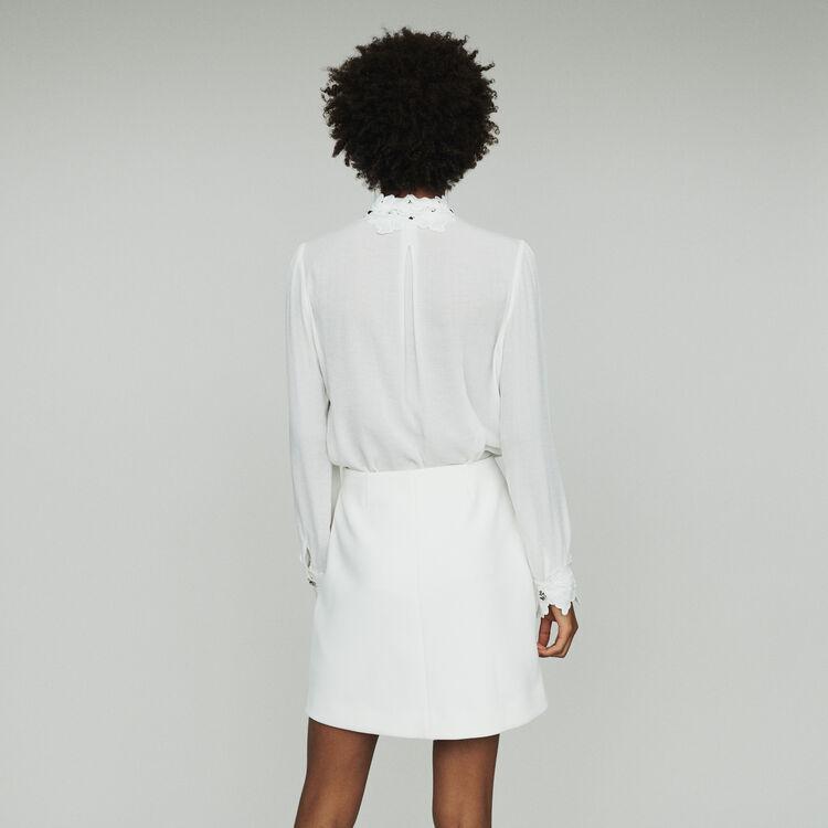 Gonna corta con palme gioiello : Gonne e shorts colore ECRU