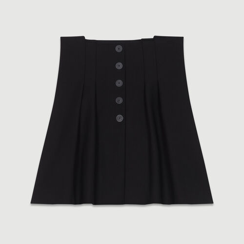 Gonna corta con gioco di pieghe : Gonne e shorts colore Nero