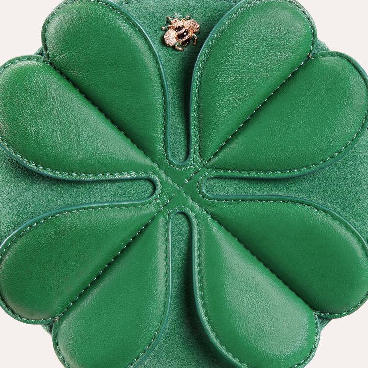 Bisaccia rotonda in pelle con trifoglio : Vedi tutto colore Verde