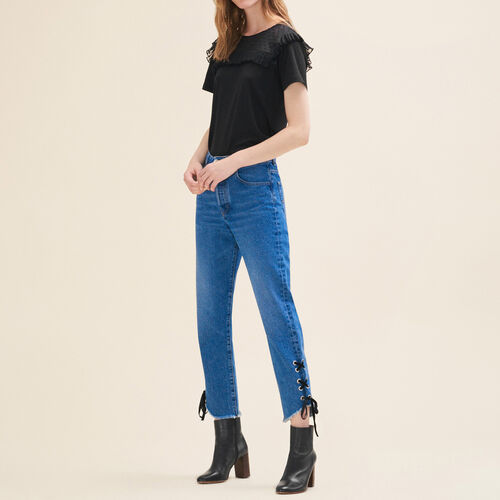 Jeans corto linea boyfriend : Pantaloni & jeans colore Blu