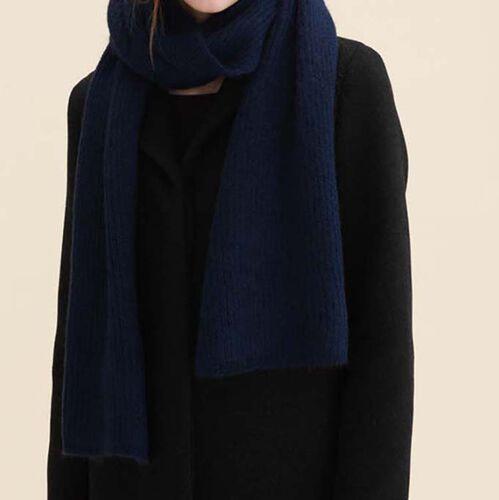 Ampia sciarpa in misto lana : Accessori colore Blu Marino
