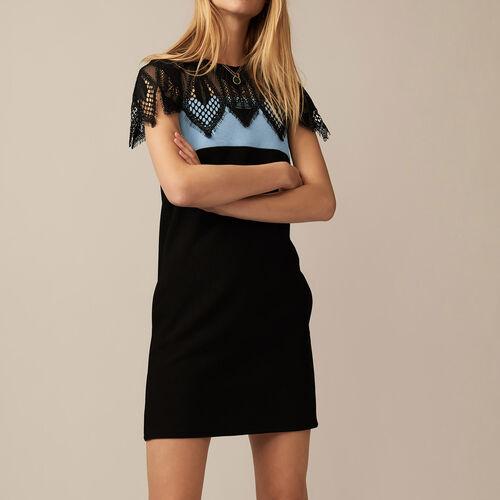 Vestito bicolore con dettagli in pizzo : Vestiti colore BLEU CIEL