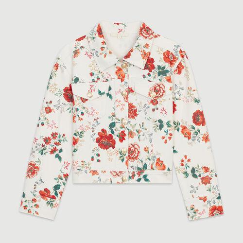 Giubbotto in jeans con stampa floreale : Giacche colore IMPRIME
