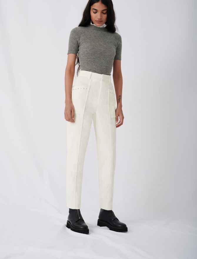 Pantaloni in velluto a coste e borchie - Pantaloni e Jeans - MAJE