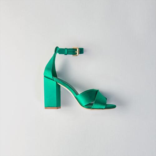 Sandali con tacco in satin : Scarpe colore VERT
