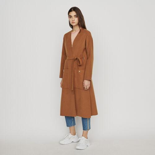 Cappotto lungo in lana double face : Cappotti e Giubbotti colore Caramello