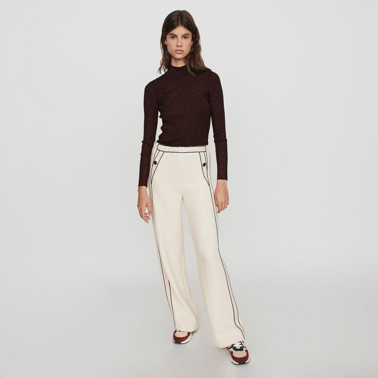 Pantalone largo stile tweed : Collezione Inverno colore Ecru