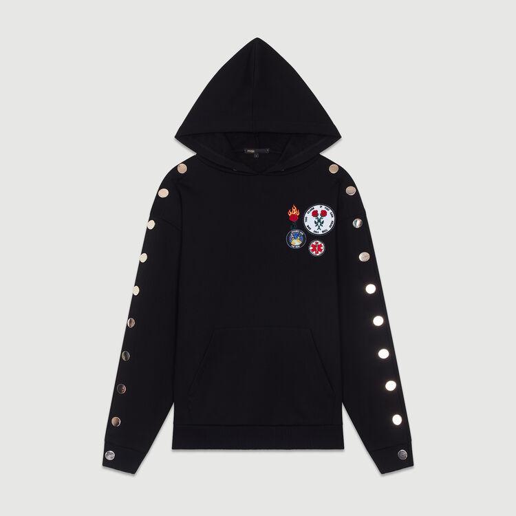 Felpa con cappuccio con multi-zip : Sweatshirts colore Nero