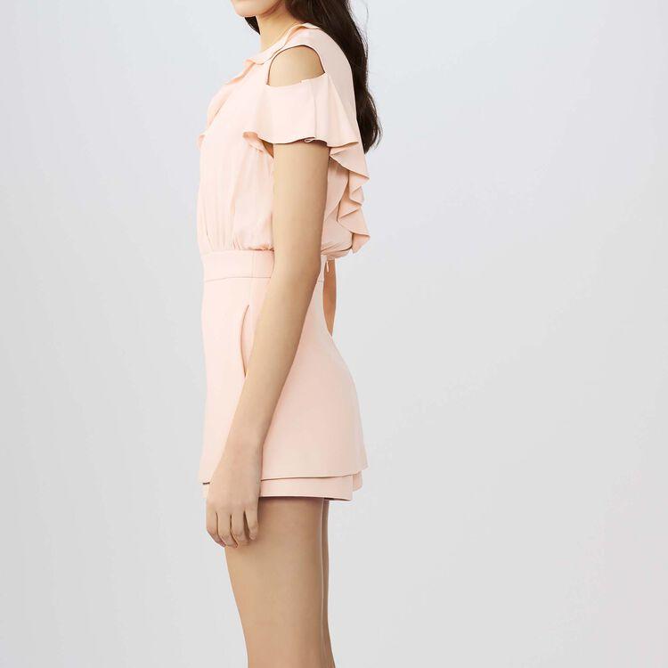 Tuta corta in crêpe e seta : Gonne e shorts colore Rosa