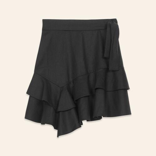 Gonna corta con volant : Gonne e shorts colore Nero