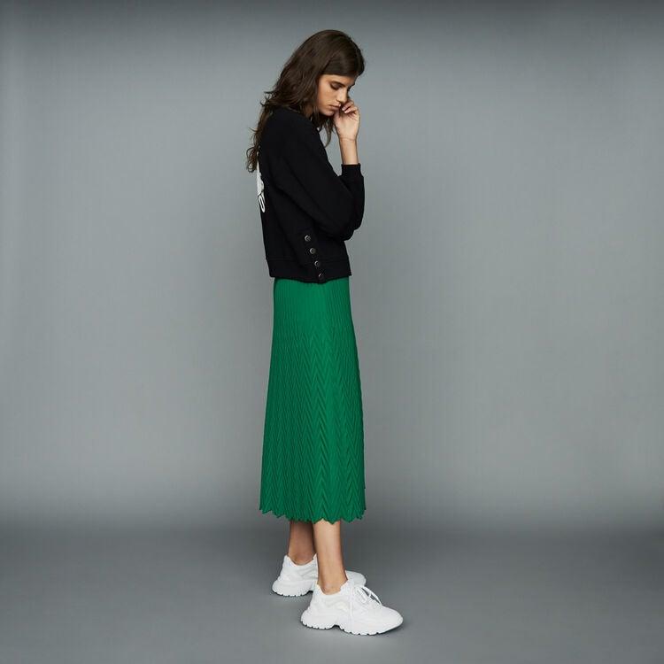 Gonna lunga plissettata a spina : Prêt-à-porter colore VERT
