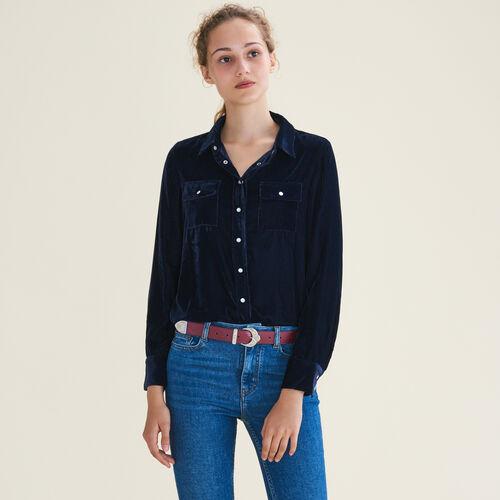 Camicia in velluto : Tops colore Blu Marino