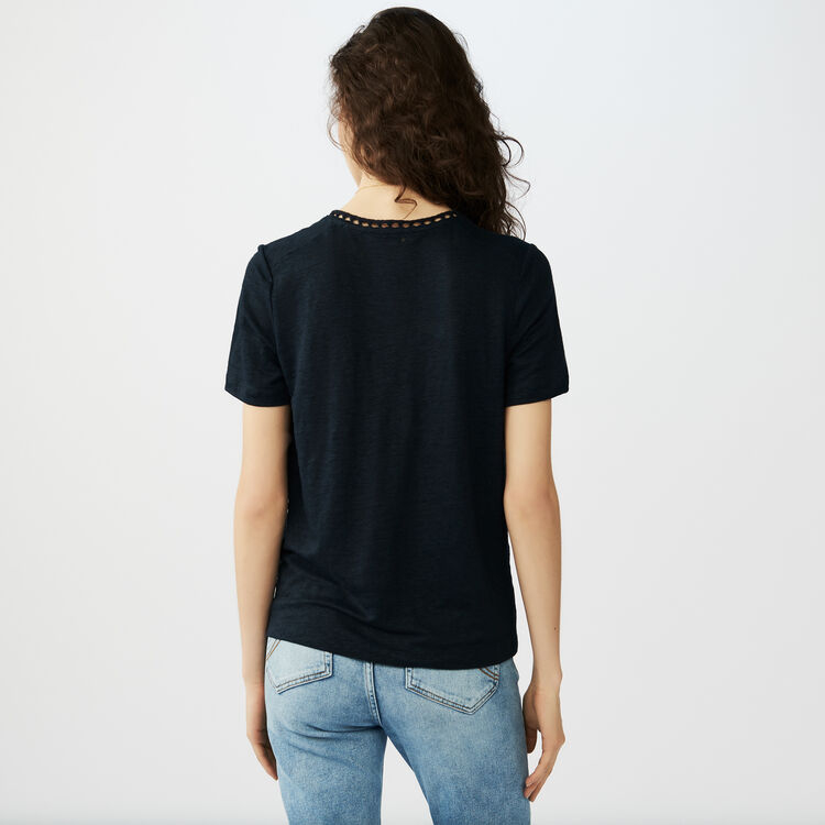 Linen t-shirt with perforated details : T-Shirts colore Blu Marino