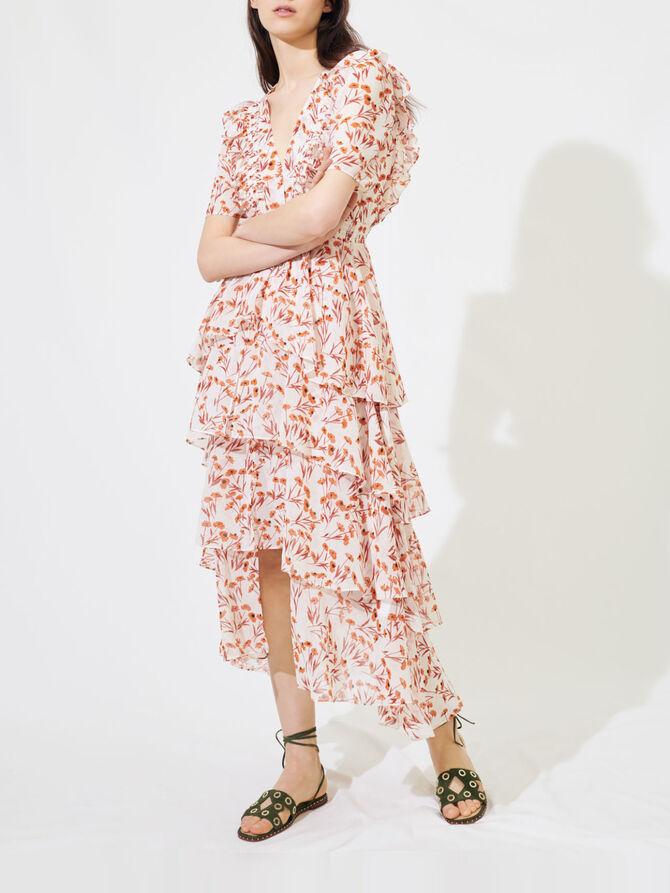 Maxi abito stampato con volant - Vestiti - MAJE