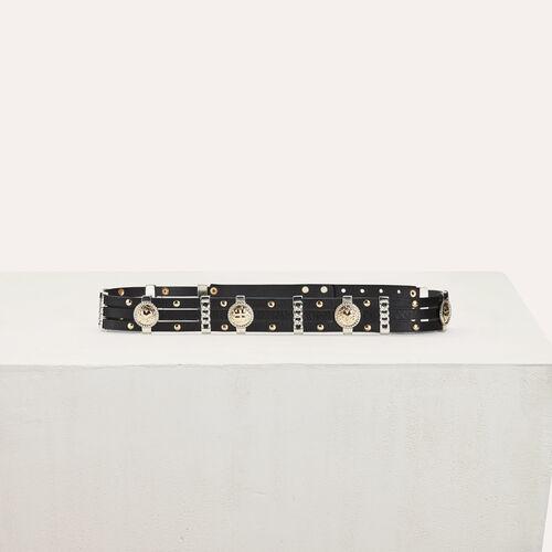 Cintura a vita alta in pelle : Cinture colore Nero