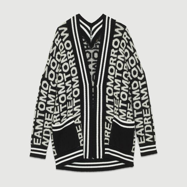 Cardigan oversize in maglia fantasia : Maglieria colore Nero