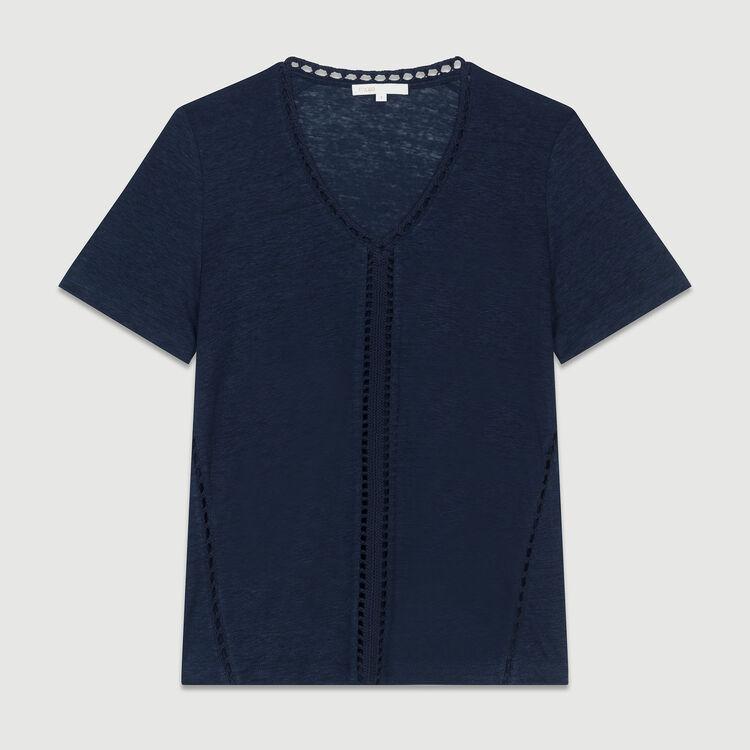 Top in lino con ricami a punto ajour : T-Shirts colore Blu Marino