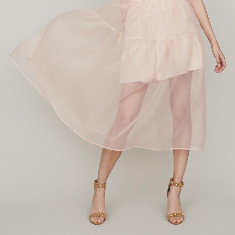 Gonna lunga stile organza : Gonne e shorts colore Mandarino