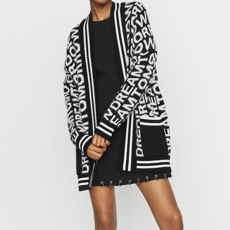 Cardigan oversize in maglia fantasia : Prêt-à-porter colore Nero