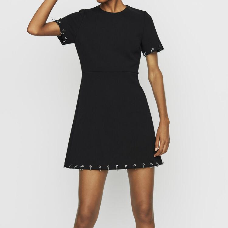 Vestito in  crêpe con occhielli : Vestiti colore Nero