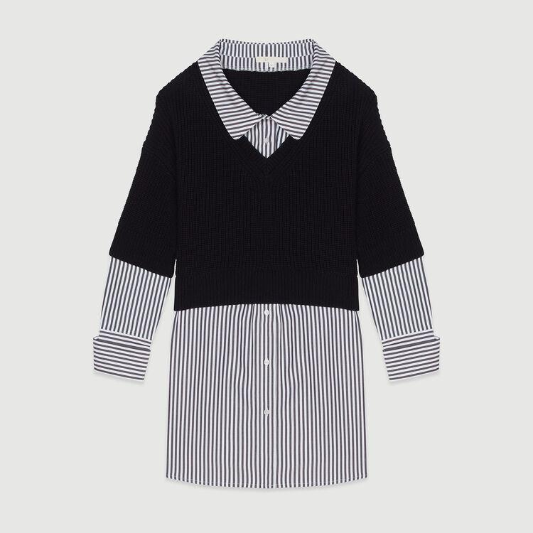 Pull corto con camicia trompe l'oeil : Pullover e cardigan colore Nero