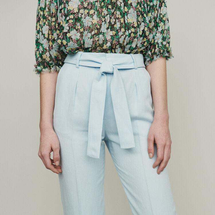 Pantaloni con pince : Pantaloni colore Ceruleo