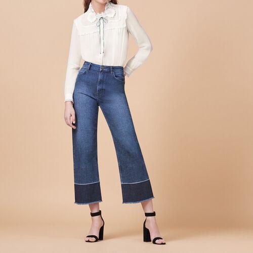 Jeans ampi con frange : Pantaloni & jeans colore Blu